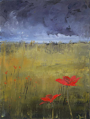 Painting - Flowers In A Storm by Carolyn Doe