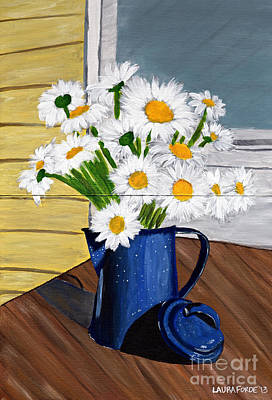 Art Print featuring the painting Flowers In A Teapot by Laura Forde