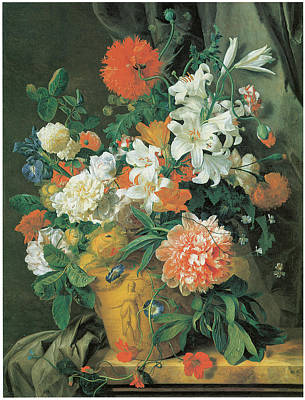 Terra Painting - Flowers In A Terra Cotta Vase by Jan Van Huysum