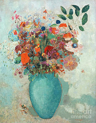 Flowers In A Turquoise Vase Art Print by Odilon Redon