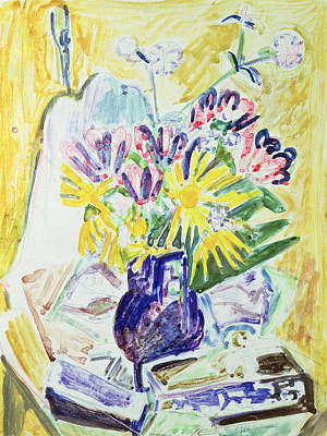 Flowers In A Vase Art Print by Ernst Ludwig Kirchner