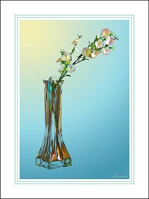 Flowers In A Vase In Bluw Art Print by Barry Monaco