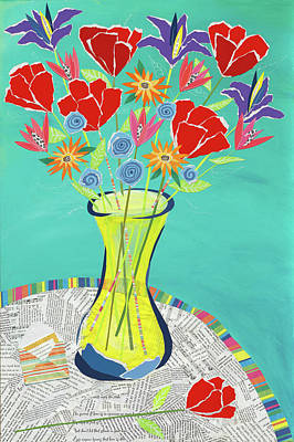 Mixed Media Still Life Painting - Flowers In A Vase by Jennifer Peck