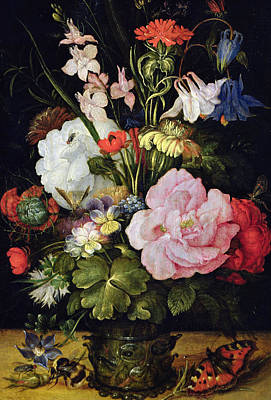 Wasp Painting - Flowers In A Vase by Roelandt Jacobsz Savery