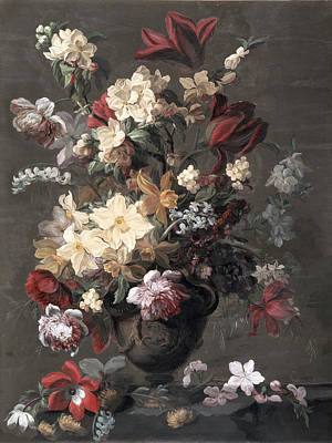 Still Life Drawing - Flowers In A Vase Standing On A Ledge by Mary Moser