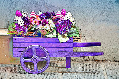 Photograph - Purple Wheelbarrow  by Maria Coulson