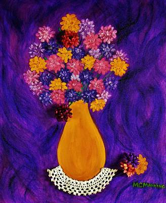 Painting - Flowers In A Yellow Vase by Celeste Manning