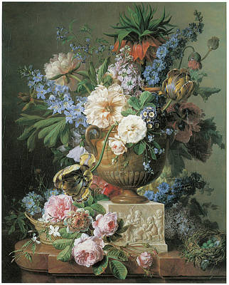 Flowers In An Alabaster Vase Art Print by Gerard Van Spaendonck