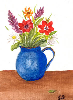 Painting - Flowers In Blue by Tis Art