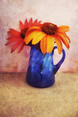 Painting - Flowers In  Blue Vase by Ann Powell