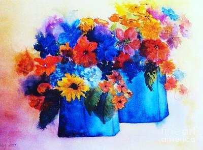 Flowers In Blue Vases Art Print