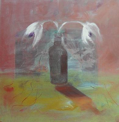 Painting - Flowers In Bottle by Mary Feeney