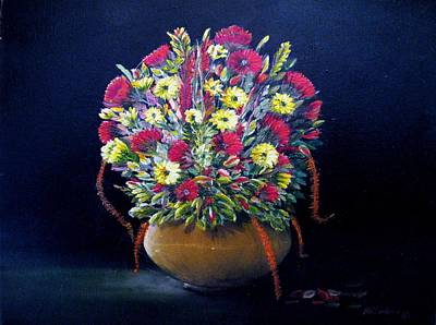 Yello Painting - Flowers In Bronze Vase by Bobby Perkins