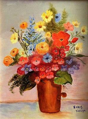 Flowers In Copper Pot Original by Janis  Tafoya