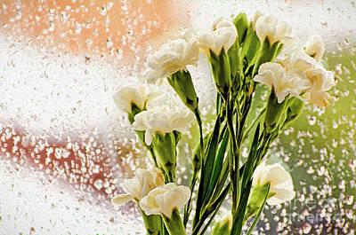 Flowers In Digital Impasto Art Print by Ed Churchill