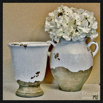 Flowers In European Pottery Art Print by Marsha Heiken