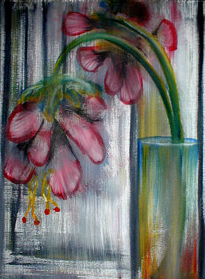 Painting - Flowers In Glass Vase by Estefan Gargost