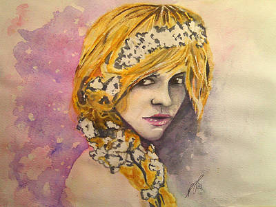 Painting - Flowers In Her Hair Series I by Paula Steffensen