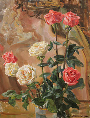 Roses Royalty-Free and Rights-Managed Images - Flowers in my workshop by Victoria Kharchenko