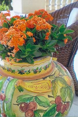Flowers In Ornate Vase Art Print by Robert Bray