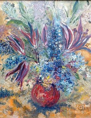 Flowers In Red Vase Art Print by Irene Pomirchy