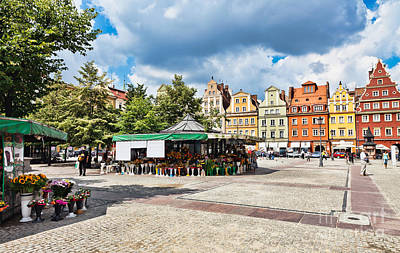 Slavic Photograph - Flowers In Salt Square - Wroclaw Poland by Frank Bach