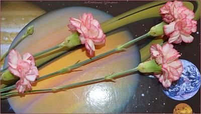 Flowers In Space Art Print