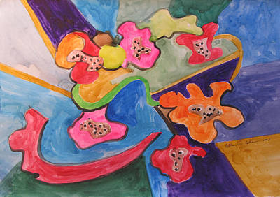 Painting - Flowers In Spin by Esther Newman-Cohen