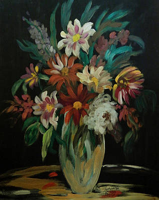 James Earl Ray Painting - Flowers In The Night by Anna Sandhu Ray