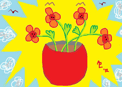 Art Print featuring the painting Flowers In The Sun by Anita Dale Livaditis