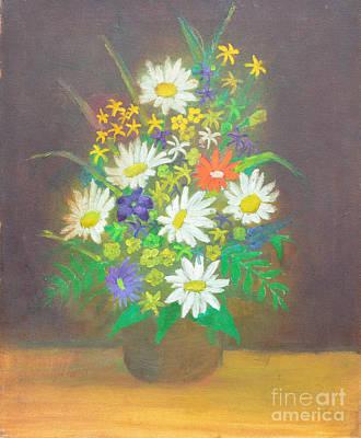 Drawings Painting - Flowers In Vase 1 by Mirek Bialy