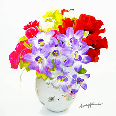 Flowers In Vase Print by Anthony Caruso