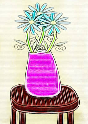 Creative Manipulation Drawing - Flowers In Vase - Digital Artwork by Gina Lee Manley