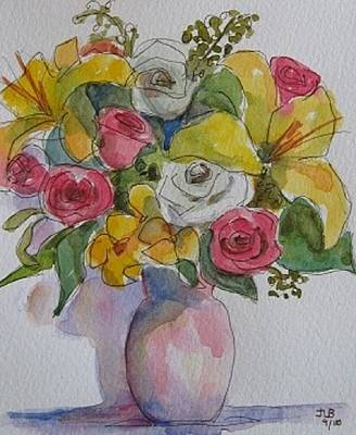 Vase With Flowers  Art Print by Janet Butler