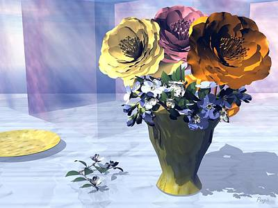 Digital Art - Flowers In Vase by John Pangia
