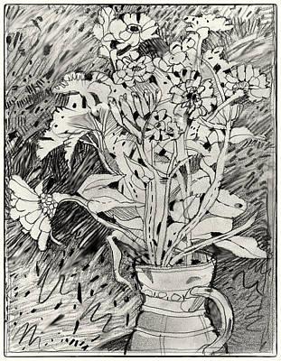 Daisy Drawing - Flowers In Vase by Patrick Garner