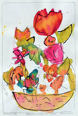 Abstract Expressionism Drawing - Flowers In Vase by Steve K