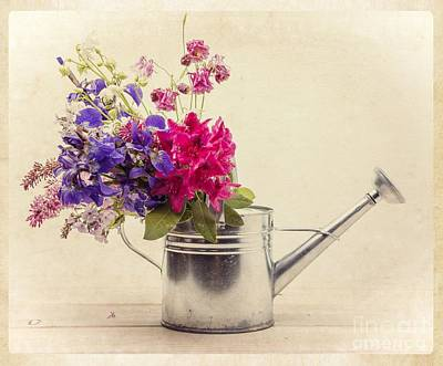 Flowers In Watering Can Art Print