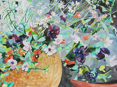 Painting - Flowers Light And Dark by Esther Newman-Cohen