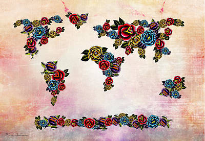 Flowers Map  Art Print by Mark Ashkenazi