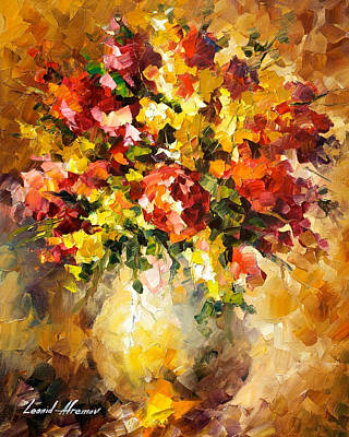 Flowers Of Illousions - Palette Knife Oil Painting On Canvas By Leonid Afremov Original