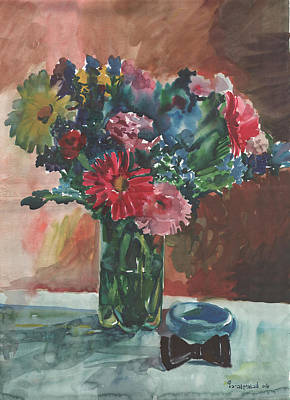 Painting - Flowers Of Italy With A Bow Tie And A Blue Bracelet by Anna Lobovikov-Katz
