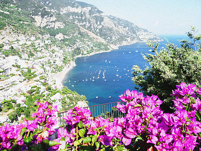 Dry Brush Wall Art - Photograph - Flowers Of Positano Italian Summer by Irina Sztukowski