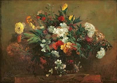 Fresh Flowers Painting - Flowers by Ferdinand Victor Eugene Delacroix