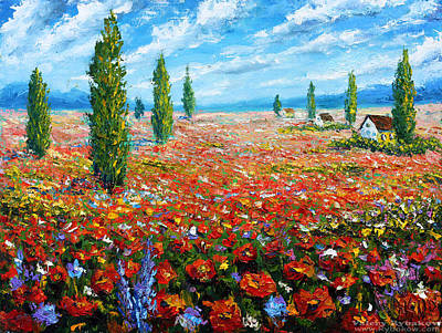 Palette Knife Drawing - Flowers Oil Painting The Field Of Red Poppies Palette Knife Paintings For Sale by Valery Rybakow
