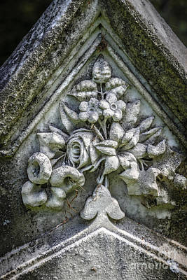 White Marble Photograph - Flowers On A Grave Stone by Edward Fielding