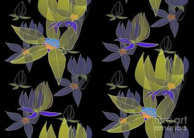 Digital Art - Flowers On Black by Barbara Moignard