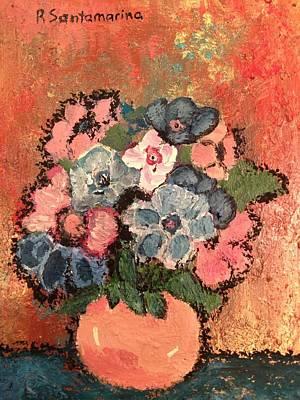 flowers on Bronze Art Print