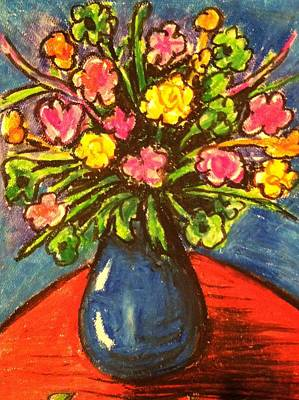 Flowers On Red Table Art Print