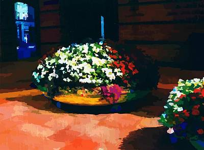 Art Print featuring the digital art Flowers On The Canal by P Dwain Morris